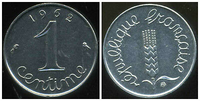 France Francia  1 Centime Inox 1962   Rebord  ( Sup )