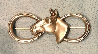 Equestrian Horse Head and Horse Shoes Sterling Silver Pin Large