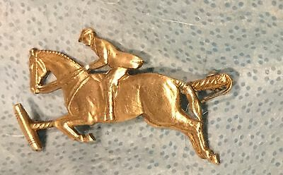 Equestrian Horse and Polo Rider Brass Pin