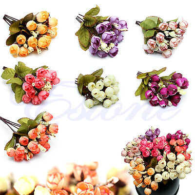 New 1 Bouquet/15Heads Wedding Party Decor Silk Fake Rose Flower Leaf Artificial
