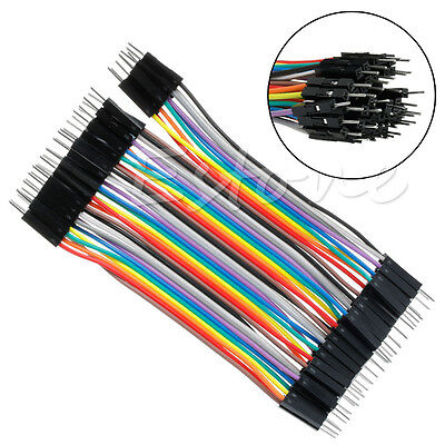 For Arduino Pop Male To Male 40X 10CM Dupont Jumper Wire Ribbon Cable Breadboard