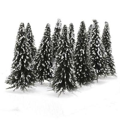 10x Snow Scenery Cedar Trees HO Model Train Railway Layout Wargame Diorama