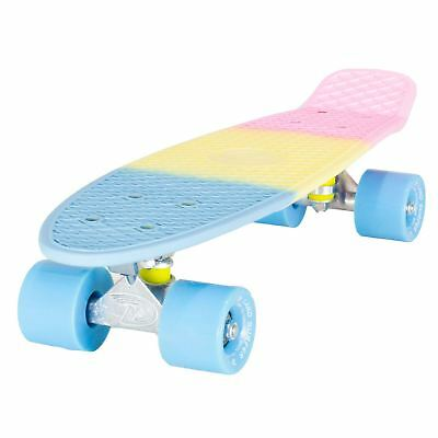 "Land Surfer Cruiser Skateboard 22"" 3-TONE PASTEL BOARD BLUE WHEELS"