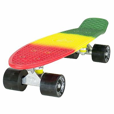 "Land Surfer Cruiser Skateboard 22"" 3-TONE RASTA BOARD BLACK WHEELS"