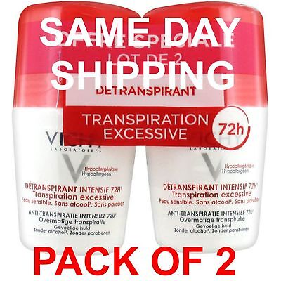 VICHY INTENSIVE ROLL ON DEODORANT 72H Excessive Perspiration 2X50ml US Seller