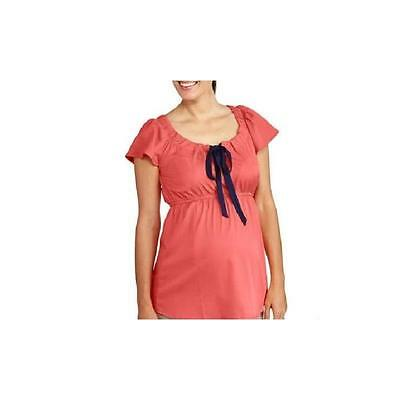 Maternity Flutter Sleeve Poly Crepe Tie Front Top, Peach, Large Oh! Mamma