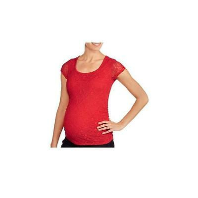 Maternity Short Sleeve Lace Top W/Side Ruching, Red, Large Planet Motherhood