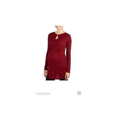 Maternity Long Sleeve Cinch Front Nursing Top, Cranberry, Large Introspect