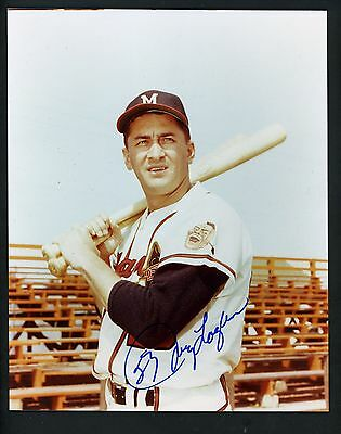 Johnny Logan Signed Autographed 8 x 10 Photo bat on shoulder Milwaukee Braves