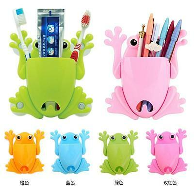 Frog Silicone Toothbrush Holder Family Set Wall Bathroom Hanger Sucker Cup IP