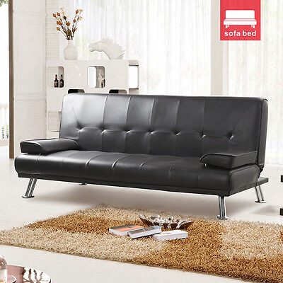 New Italian Style 3 Seater Faux Leather Sofa Bed With Chrome Feet Futon