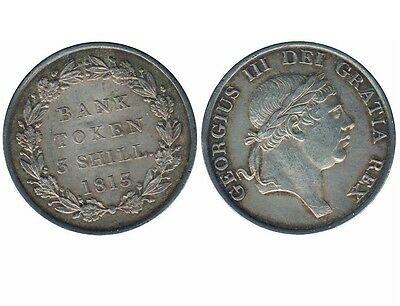 1813 Great Britain 3 Shilling Bank of England in AU-UNC Condition