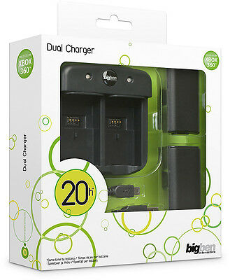 XBox 360 Controller dual Charger Rechargeable Batteries Black XBOX360