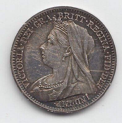 Very Rare 1893 PROOF Silver Threepence 3d - Queen Victoria