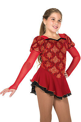 NEW COMPETITION SKATING DRESS Jerrys 607 Red Gold Glitter Brocade 10-12 CL