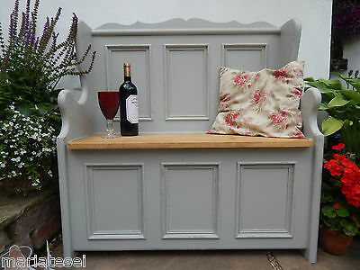 Painted Solid Pine 3ft Monks Bench Settle Hall Seat Storage Pew NEW F&B Colours