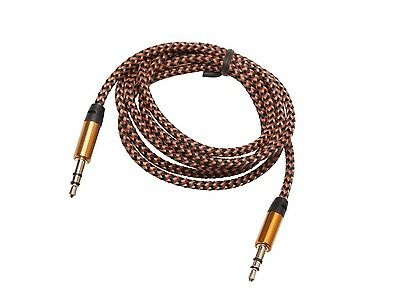 STEREO AUX Kabel 2x 3,5 mm Klinke Stecker Audio Klinkekabel Vergoldet Gold 1m
