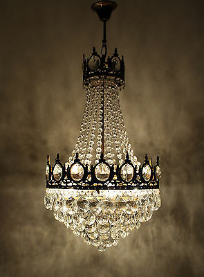 Antique Vintage French Basket Style Brass Crystals Chandelier Ceiling Lamp 1950'