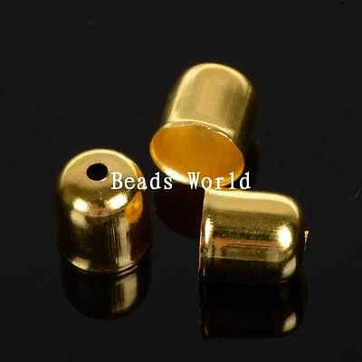 100 Pcs Gold Plated Blunt Necklace End Tip Bead Caps 8x7mm (Fit 6mm)