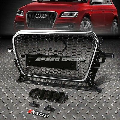 Rs Style Chrome Abs Front Bumper Honeycomb Grill Guard For 12-16 Audi Q5 Mlb/mlp