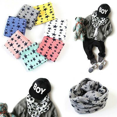 New Winter Warm Boys Girls Collar Baby Scarf Children Stars O Ring Neck Scarves