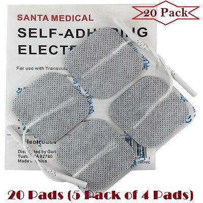 20 Replacement Pads for Massagers / Tens / EMS Units electrode 2x2Inch White