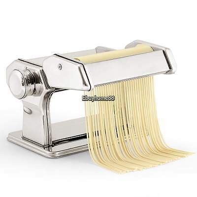 Manual Pasta Maker Noodle Machine Spaghetti Clamp Fettuccine Roller Stainless