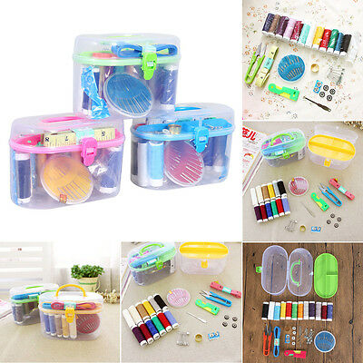 Thread Threader Needle Tape Measure Scissor Thimble Storage Box Bag Sewing Kit