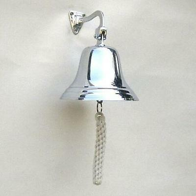 Polished Chrome Vintage Style Hanging Ship Wall Bell Pub Home School Dinner