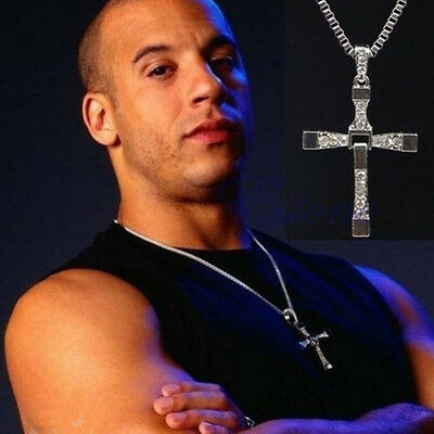 Mens Silver Cross Chain Necklace Fast and Furious Movie Dominic Torretto Pendant