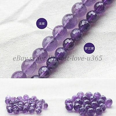Grade AAA Natural Amethyst Gemstone Faceted Round Beads 16'' 4MM 6MM 8MM 10MM