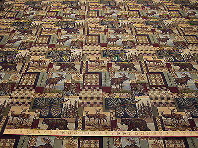 Peters Cabin Stone Moose Upholstery Fabric Mountain Lodge Rustic Tapestry