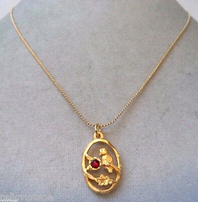 Stunning Vintage Estate Gold Tone Red Cab Bird Flower Necklace!!! Wga3190