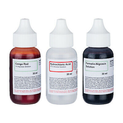 AmScope SK-3N Negative Stains Stain Kit - 3 Chemicals 4 Making Microscope Slides