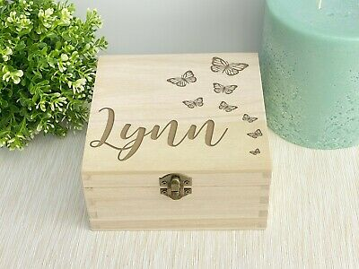 Personalised Engraved Wooden Butterfly Box - Memory / Keepsake box GIFT