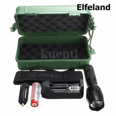 5000LM T6 LED Zooma Flashlight Torch Light+Charger+Box+18650 Battery