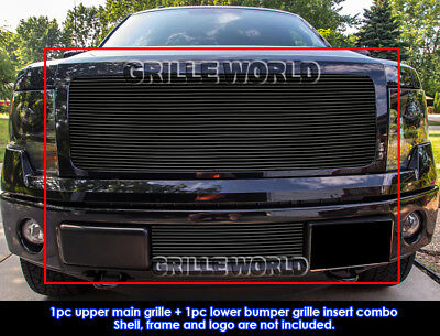 For 2009-2014 Ford F-150 Reg Model Solid Black Billet Grill Insert Combo