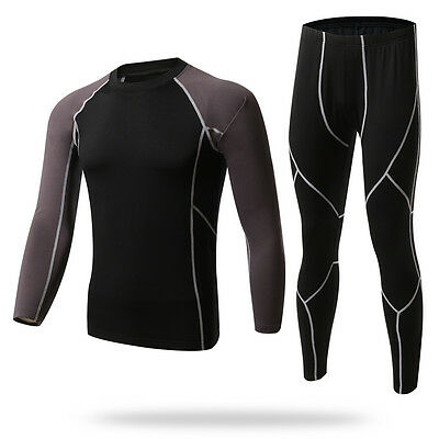 Mens Long Sleeve Cycling Jersey Pants Base Layer Sportswear Fitness Tee Pants