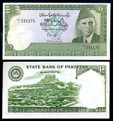 Pakistan 10 Rupees P 34 Unc W/h Lot 5 Pcs