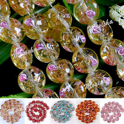1 Strand 15mm Lampwork Glass Round Flower Loose Beads Jewelry DIY Making Gift