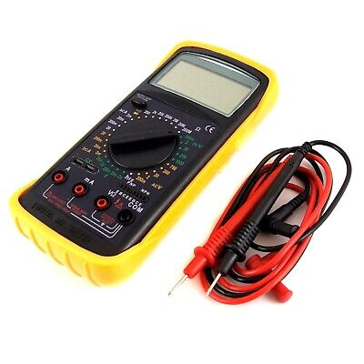 Digital Multimeter Volt Amp Meter Electrical Tester With Probes Battery + Case