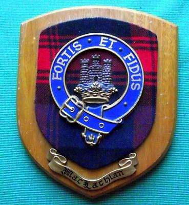Vintage Scottish Clan MacLachan Tartan Heavy Solid Oak Plaque Crest Shield