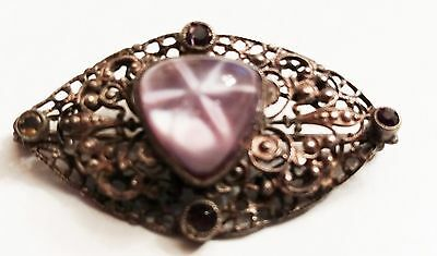 Vintage Filigree Pin Back Brooch Beautiful Phenomenal Gemstone 1960's
