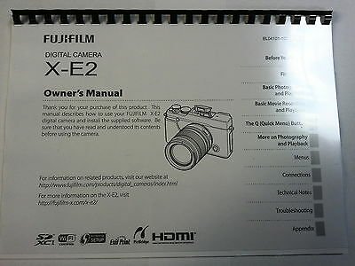 Fujifilm X-E2 Printed Instruction Manual User Guide 146 Pages A5