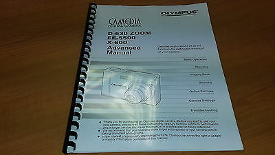 Olympus D-630 Digital Camera Printed Instruction Manual User Guide 134 Pages A5