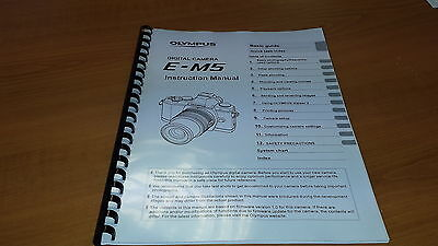 Olympus E-M5 Digital Camera Printed Instruction Manual User Guide 133 Pages A5