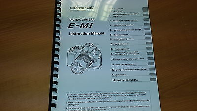 Olympus E-M1 Digital Camera Printed Instruction Manual User Guide 165 Pages A5