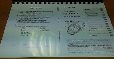 Olympus E-Pl1 Digital Camera Printed Instruction Manual User Guide 127 Pages A5