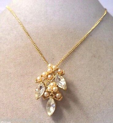 Stunning Vintage Estate Gold Tone Faux Pearl Rhinestone Necklace!!! Wga3254