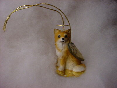 LONGHAIR CHIHUAHUA brown DOG ANGEL Ornament Figurine Statue NEW Christmas puppy